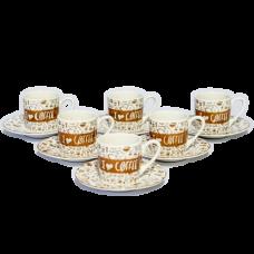 Jogo 06 Xícaras 90 ml p/ Café de Porcelana  com Pires Lovers  Bon Gourmet