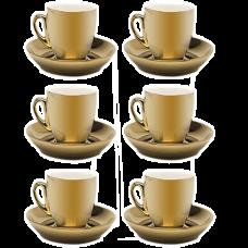 Jogo 06 Xícaras 90 ml p/ Café de Porcelana Dourada Wolff