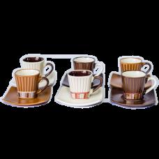 Jogo 06 Xícaras 90ml de Café com Pires Stripes Bon Gourmet