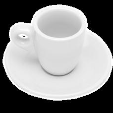 Jogo 06 Xícaras 70ml p/ Café com Pires Branco Lima Bon Gourmet
