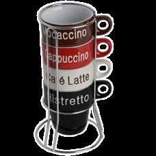 Jogo 04 Xícaras 220 ml p/ Café de Porcelana Names com Suporte Bon Gourmet
